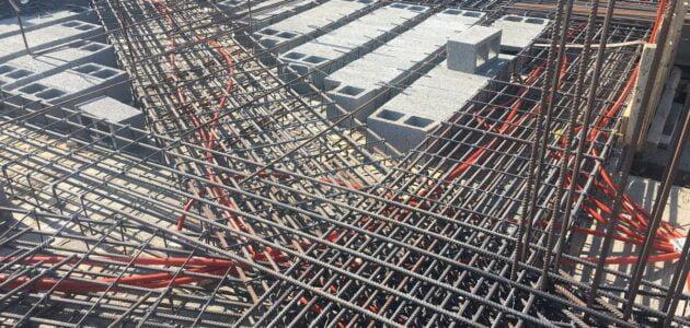 حساب كمية الحديد في السقف